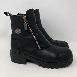 Harley Davidson Black Leather Motorcycle Boots 8